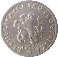 obverse of 20 Haléřů (1921 - 1938) coin with KM# 1 from Czechoslovakia. Inscription: REPUBLIKA+ČESKOSLOVENSKÁ 1925