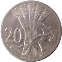 reverse of 20 Haléřů (1921 - 1938) coin with KM# 1 from Czechoslovakia. Inscription: 20 O · ŠPANIEL