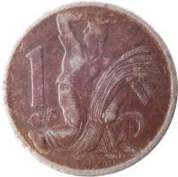 reverse of 1 Koruna (1922 - 1938) coin with KM# 4 from Czechoslovakia. Inscription: 1 O · ŠPANIEL