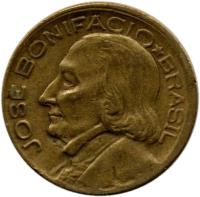 obverse of 10 Centavos (1947 - 1955) coin with KM# 561 from Brazil. Inscription: JOSE BONIFACIO * BRASIL