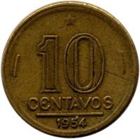 reverse of 10 Centavos (1947 - 1955) coin with KM# 561 from Brazil. Inscription: 10 CENTAVOS 1955
