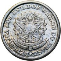 obverse of 1 Cruzeiro (1957 - 1961) coin with KM# 570 from Brazil. Inscription: REPUBLICA DOS ESTADOS UNIDOD DO BRASIL