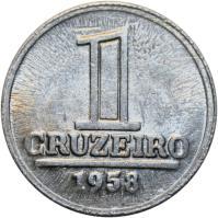 reverse of 1 Cruzeiro (1957 - 1961) coin with KM# 570 from Brazil. Inscription: 1 CRUZEIRO 1959