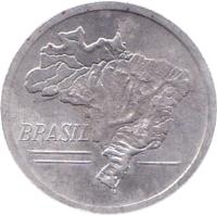 obverse of 20 Cruzeiros (1965) coin with KM# 573 from Brazil. Inscription: BRASIL