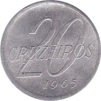 reverse of 20 Cruzeiros (1965) coin with KM# 573 from Brazil. Inscription: 20 CRUZEIROS 1965