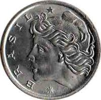 obverse of 5 Centavos - FAO (1975 - 1978) coin with KM# 587 from Brazil. Inscription: * BRASIL *