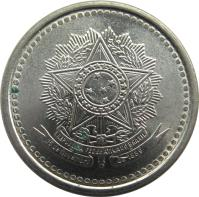 obverse of 100 Cruzeiros (1985 - 1986) coin with KM# 595 from Brazil.
