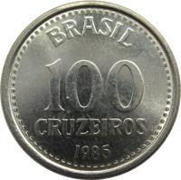 reverse of 100 Cruzeiros (1985 - 1986) coin with KM# 595 from Brazil. Inscription: BRASIL 100 CRUZEIROS 1985