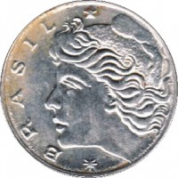 obverse of 1 Centavo - FAO (1975 - 1978) coin with KM# 585 from Brazil. Inscription: * BRASIL *