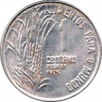 reverse of 1 Centavo - FAO (1975 - 1978) coin with KM# 585 from Brazil. Inscription: ALIMENTOS PARA O MUNDO 1 centavo açúcar 1975