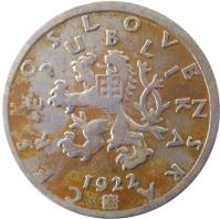obverse of 50 Haléřů (1921 - 1931) coin with KM# 2 from Czechoslovakia. Inscription: REPUBLIKA ČESKOSLOVENSKÁ 1926
