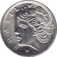 obverse of 2 Centavos - FAO (1975 - 1978) coin with KM# 586 from Brazil. Inscription: * BRASIL *