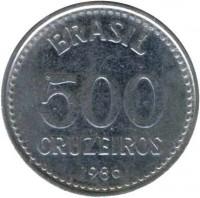 reverse of 500 Cruzeiros (1985 - 1986) coin with KM# 597 from Brazil. Inscription: BRASIL 500 CRUZEIROS 1985
