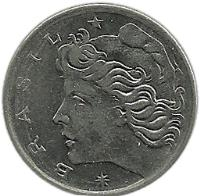 obverse of 2 Centavos (1967 - 1975) coin with KM# 576 from Brazil. Inscription: *BRASIL*