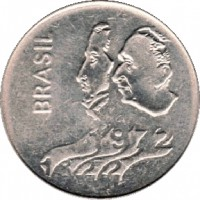 obverse of 1 Cruzeiro - 150th Anniversary of Independence (1972) coin with KM# 582 from Brazil. Inscription: BRASIL 1972 1822