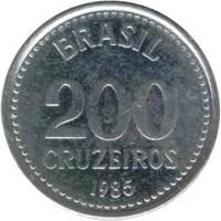 reverse of 200 Cruzeiros (1985 - 1986) coin with KM# 596 from Brazil. Inscription: BRASIL 200 CRUZEIROS 1985