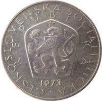obverse of 5 Korun (1966 - 1990) coin with KM# 60 from Czechoslovakia. Inscription: ČESKOSLOVENSKÁ SOCIALISTICKÁ REPUBLIKA 1973