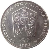 obverse of 2 Koruny (1972 - 1990) coin with KM# 75 from Czechoslovakia. Inscription: ČESKOSLOVENSKÁ SOCIALISTICKÁ REPUBLIKA 1972