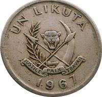 obverse of 1 Likuta (1967) coin with KM# 8 from Congo - Democratic Republic. Inscription: UN LIKUTA JUSTICE PAIX TRAVAIL 1967