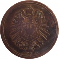 obverse of 1 Pfennig - Wilhelm I - Small eagle (1873 - 1889) coin with KM# 1 from Germany. Inscription: A A