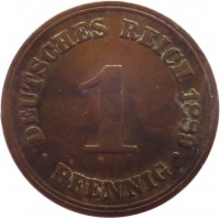 reverse of 1 Pfennig - Wilhelm I - Small eagle (1873 - 1889) coin with KM# 1 from Germany. Inscription: DEUTSCHES REICH 1889 1 PFENNIG