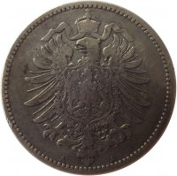 obverse of 1 Mark - Wilhelm I - Small eagle (1873 - 1887) coin with KM# 7 from Germany. Inscription: A A
