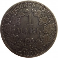 reverse of 1 Mark - Wilhelm I - Small eagle (1873 - 1887) coin with KM# 7 from Germany. Inscription: DEUTSCHES REICH 1 MARK 1881