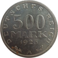reverse of 500 Mark (1923) coin with KM# 36 from Germany. Inscription: DEUTSCHES REICH 500 MARK 1923 A