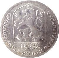 obverse of 50 Haléřů (1977 - 1990) coin with KM# 89 from Czechoslovakia. Inscription: ČESKOSLOVENSKÁ SOCIALISTICKÁ REPUBLIKA 1978