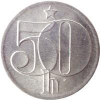 reverse of 50 Haléřů (1977 - 1990) coin with KM# 89 from Czechoslovakia. Inscription: 50 h ·
