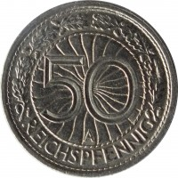 reverse of 50 Reichspfennig (1927 - 1938) coin with KM# 49 from Germany. Inscription: 50 A REICHSPFENNIG