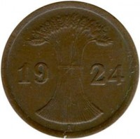 obverse of 2 Reichspfennig (1923 - 1936) coin with KM# 38 from Germany. Inscription: 1924 A