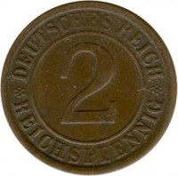 reverse of 2 Reichspfennig (1923 - 1936) coin with KM# 38 from Germany. Inscription: DEUTSCHES REICH 2 REICHSPFENNIG