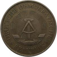 obverse of 5 Mark - 20 Years of GDR (1969) coin with KM# 22 from Germany. Inscription: DEUTSCHE DEMOKRATISCHE REPUBLIK
