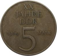 reverse of 5 Mark - 20 Years of GDR (1969) coin with KM# 22 from Germany. Inscription: XX JAHRE DDR 1969 5 MARK