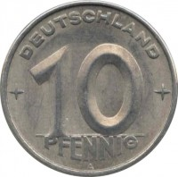 reverse of 10 Pfennig (1952 - 1953) coin with KM# 7 from Germany. Inscription: DEUTSCHLAND 10 PFENNIG A