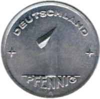 reverse of 1 Pfennig (1948 - 1950) coin with KM# 1 from Germany. Inscription: DEUTSCHLAND 1 PFENNIG E