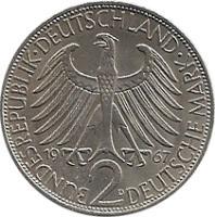 obverse of 2 Deutsche Mark - Max Planck (1957 - 1971) coin with KM# 116 from Germany. Inscription: BUNDESREPUBLIK DEUTSCHLAND 2 DEUTSCHE MARK 1962