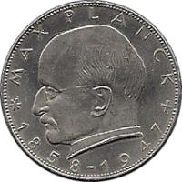 reverse of 2 Deutsche Mark - Max Planck (1957 - 1971) coin with KM# 116 from Germany. Inscription: MAX PLANCK *1858-1947+