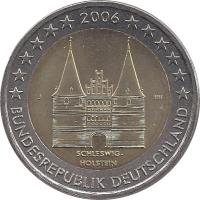 obverse of 2 Euro - Federal States: Schleswig-Holstein (2006) coin with KM# 253 from Germany. Inscription: SCHLESWIG-HOLSTEIN J HH BUNDESREPUBLIK DEUTSCHLAND 2006