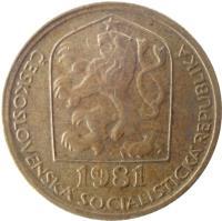 obverse of 20 Haléřů (1972 - 1990) coin with KM# 74 from Czechoslovakia. Inscription: ČESKOSLOVENSKÁ SOCIALISTICKÁ REPUBLIKA 1973