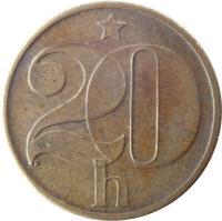 reverse of 20 Haléřů (1972 - 1990) coin with KM# 74 from Czechoslovakia. Inscription: 20 h D