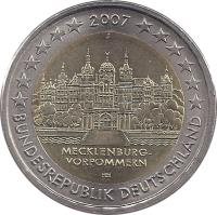 obverse of 2 Euro - Federal States: Mecklenburg-Vorpommern (2007) coin with KM# 260 from Germany. Inscription: BUNDESREPUBLIK DEUTSCHLAND HH 2007 MECKLENBURG VORPOMMERN F
