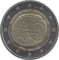 obverse of 2 Euro - 10 Years of EMU (2009) coin with KM# 277 from Germany. Inscription: BUNDESREPUBLIK DEUTSCHLAND D WWU 1999-2009