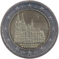 obverse of 2 Euro - Federal States: Nordrhein-Westfalen (2011) coin with KM# 293 from Germany. Inscription: D D HH NORDRHEIN-WESTFALEN 20 11