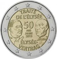 obverse of 2 Euro - Élysée Treaty (2013) coin with KM# 315 from Germany. Inscription: TRAITÉ DE L'ÉLYSÉE 50 ANS JAHRE 2013 ÉLYSÉE- VERTRAG D J