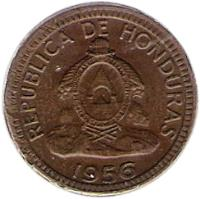 obverse of 1 Centavo (1935 - 1957) coin with KM# 77 from Honduras. Inscription: REPUBLICA DE HONDURAS