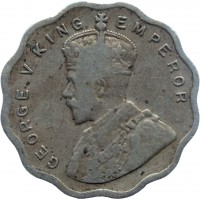 obverse of 1 Anna - George V (1912 - 1936) coin with KM# 513 from India. Inscription: GEORGE V KING EMPEROR