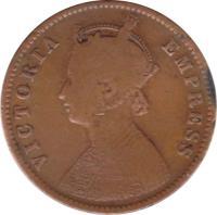 obverse of 1/4 Anna - Victoria - VICTORIA EMPRESS (1877 - 1901) coin with KM# 486 from India. Inscription: VICTORIA EMPRESS