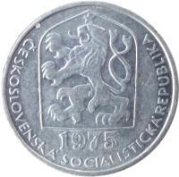 obverse of 10 Haléřů (1974 - 1990) coin with KM# 80 from Czechoslovakia. Inscription: CESKOSLOVENSKA SOCIALISTICKA REPUBLIKA 1983